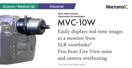 Multi Video Camera Attachments for Viewfinders, GOKO MVC-10.  Easily displays real-time images to a monitor from SLR viewfinders. Free from Live View noise and camera overheating. for Canon and Nikon bodies