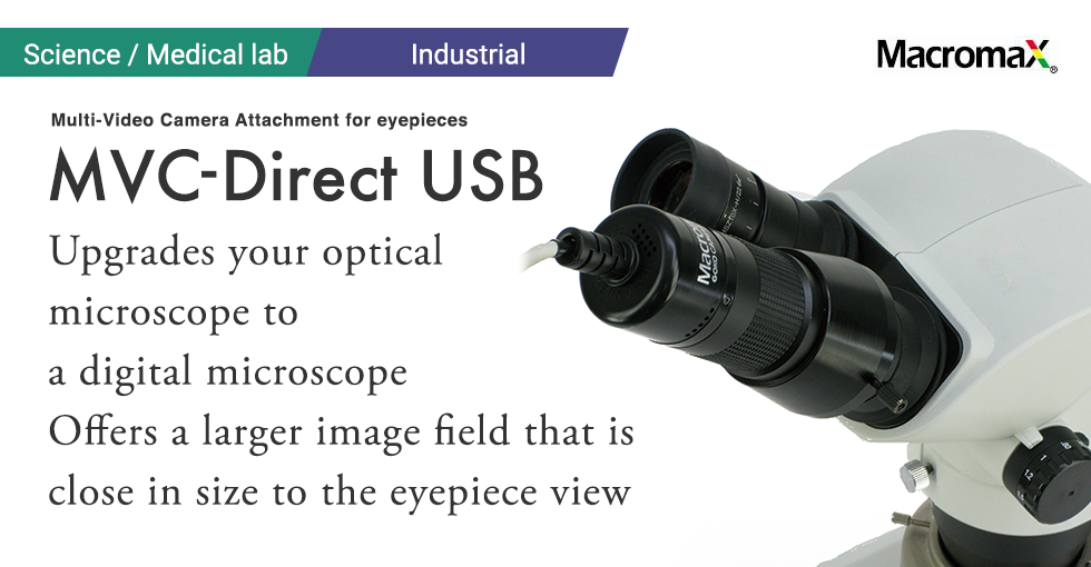 Multi-Video Camera Attachment for eyepieces GOKO MVC-Direct USBUpgrades your optical microscope to a digital microscope.Offers a larger image field that is close in size to the eyepiece view.